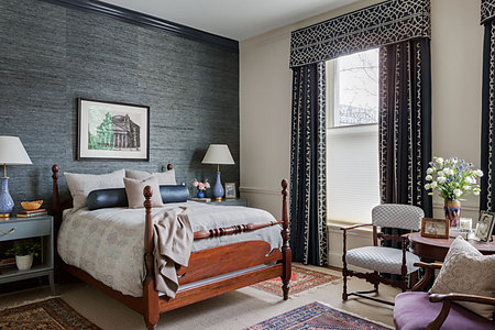 Phillip Jeffries bedroom grasscloth accent wall behind headboard