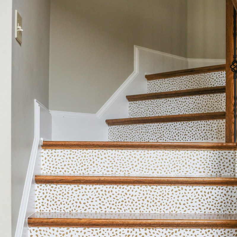 wallpaper trends; wallpapered stair risers