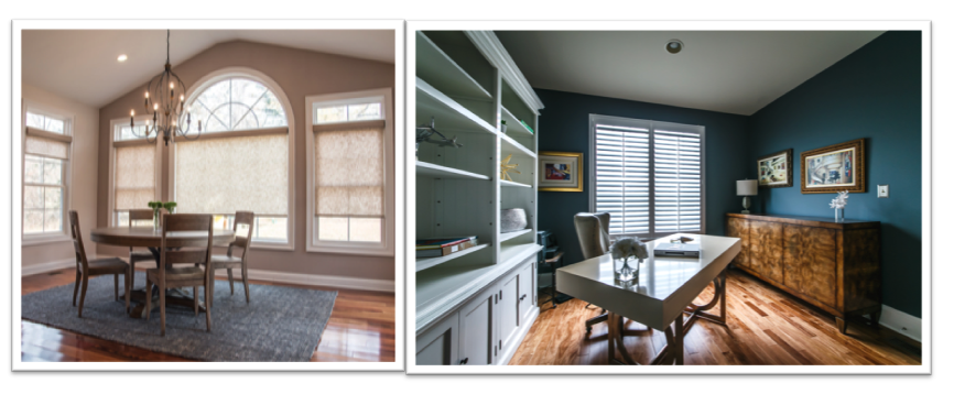 Sunroom and office designed by Mallory Rose Interiors with Hunter Douglas window treatments