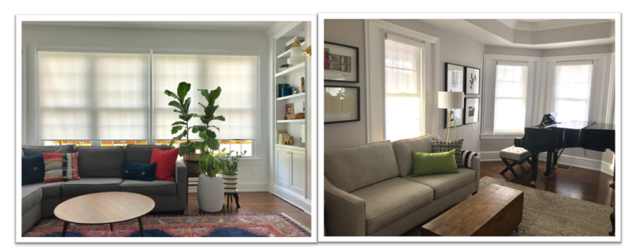Family rooms designed by Down 2 Earth Interior Design with Designer Roller Shades