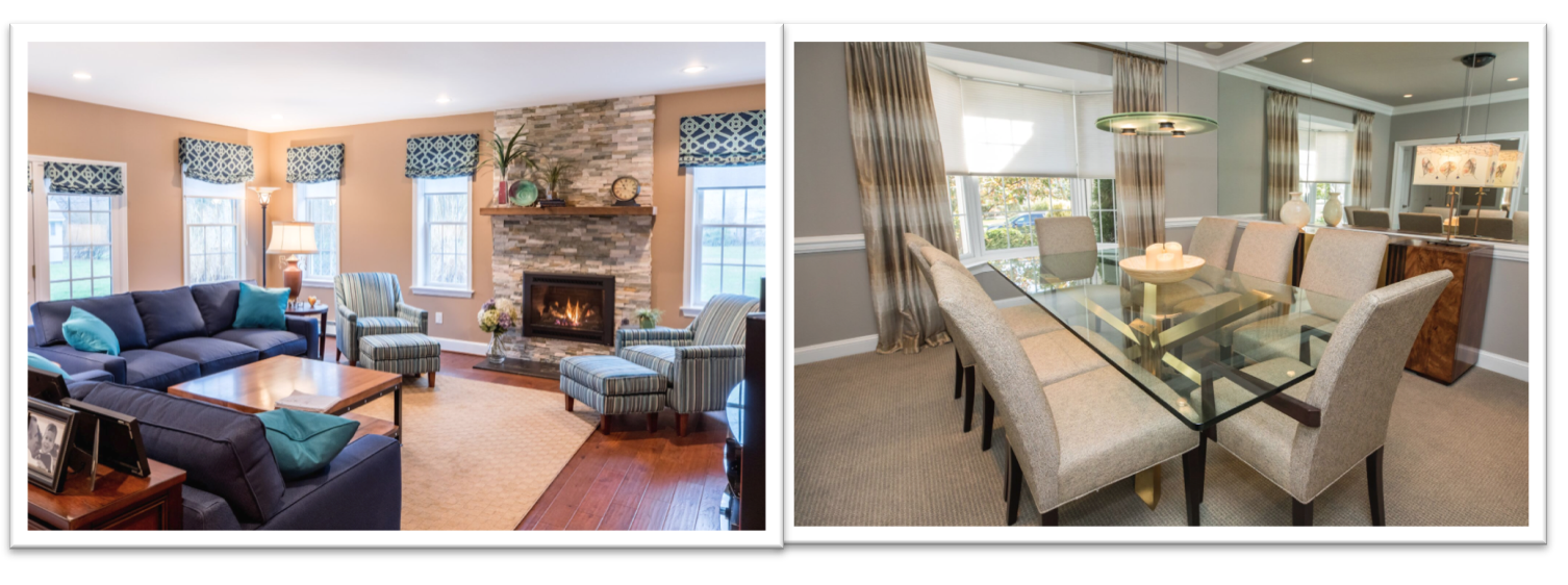 Living and dining room with custom window treatments Designed by Diane Bishop Interiors