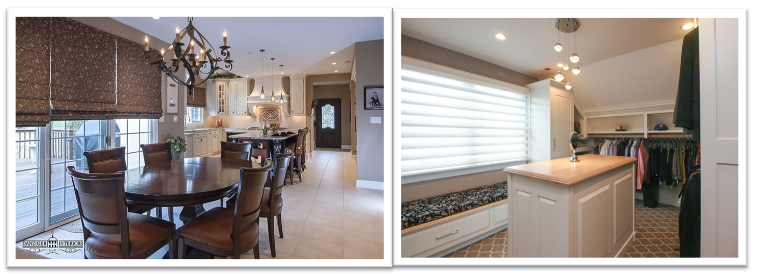 Kitchen and walk in closet by Danziger Interiors with Roman Shades and Window Shadings