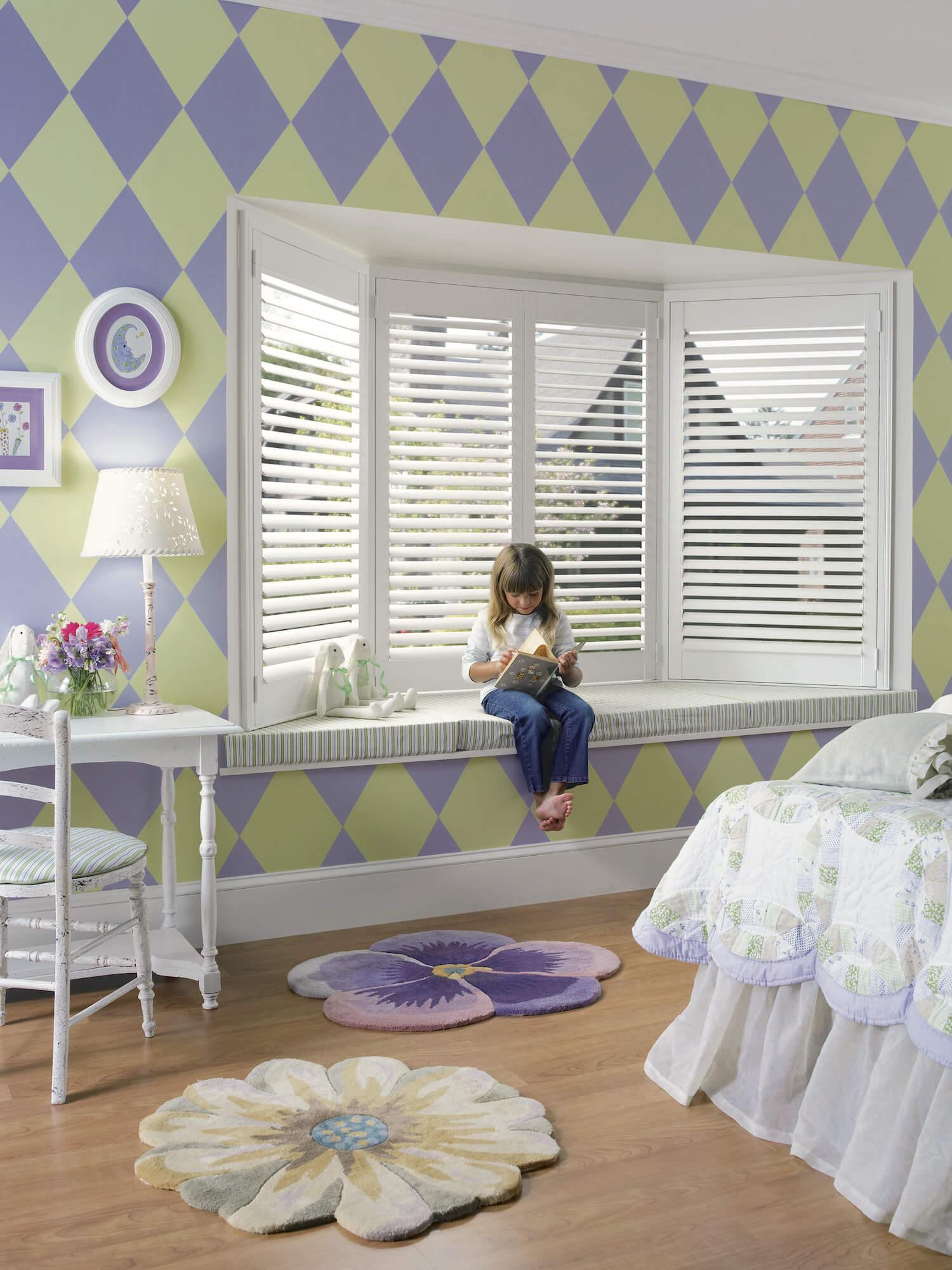 White Hardwood Shutters - Heritance Hardwood Shuttersin child's bay window