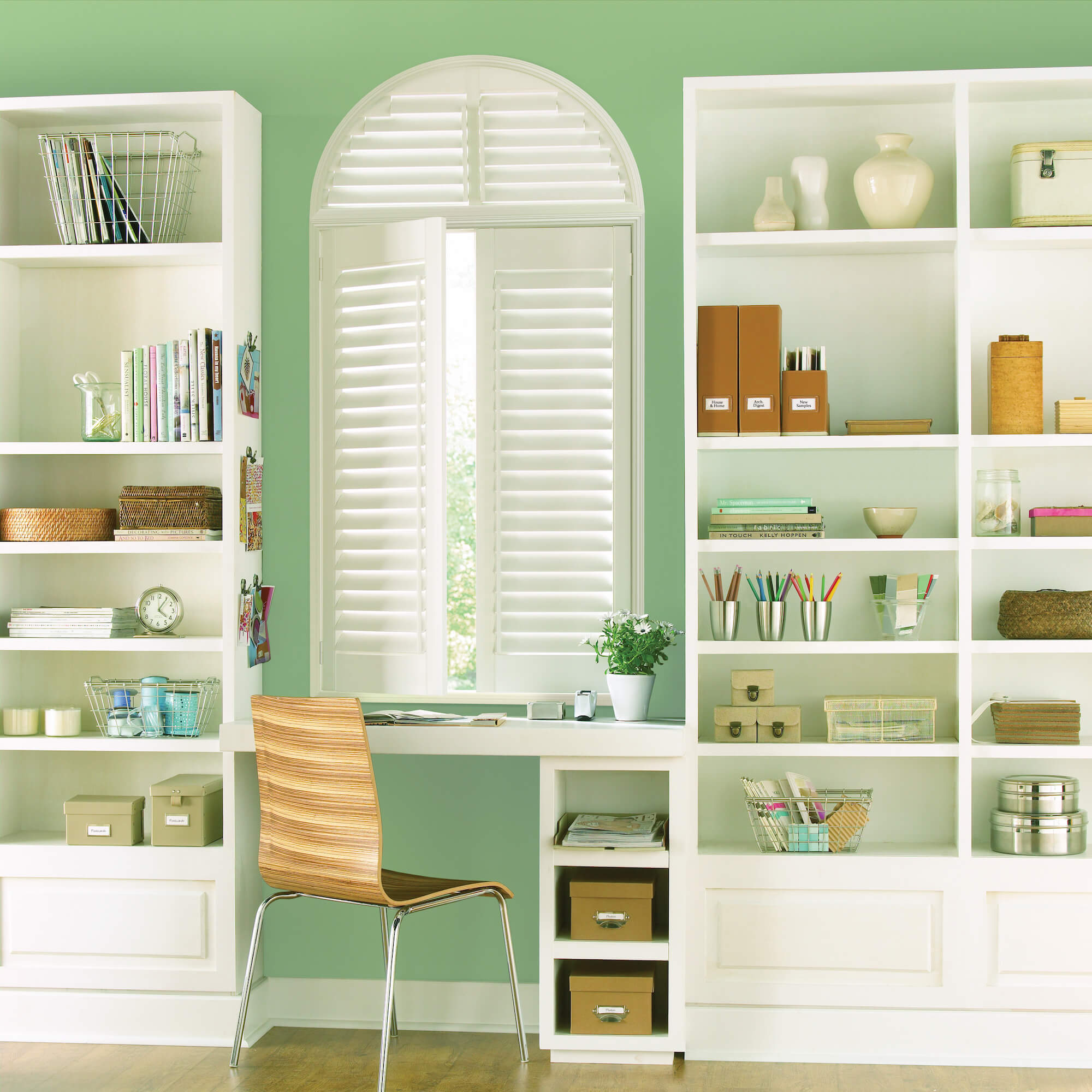 Palm Beach Shutters on specialty arched window in office