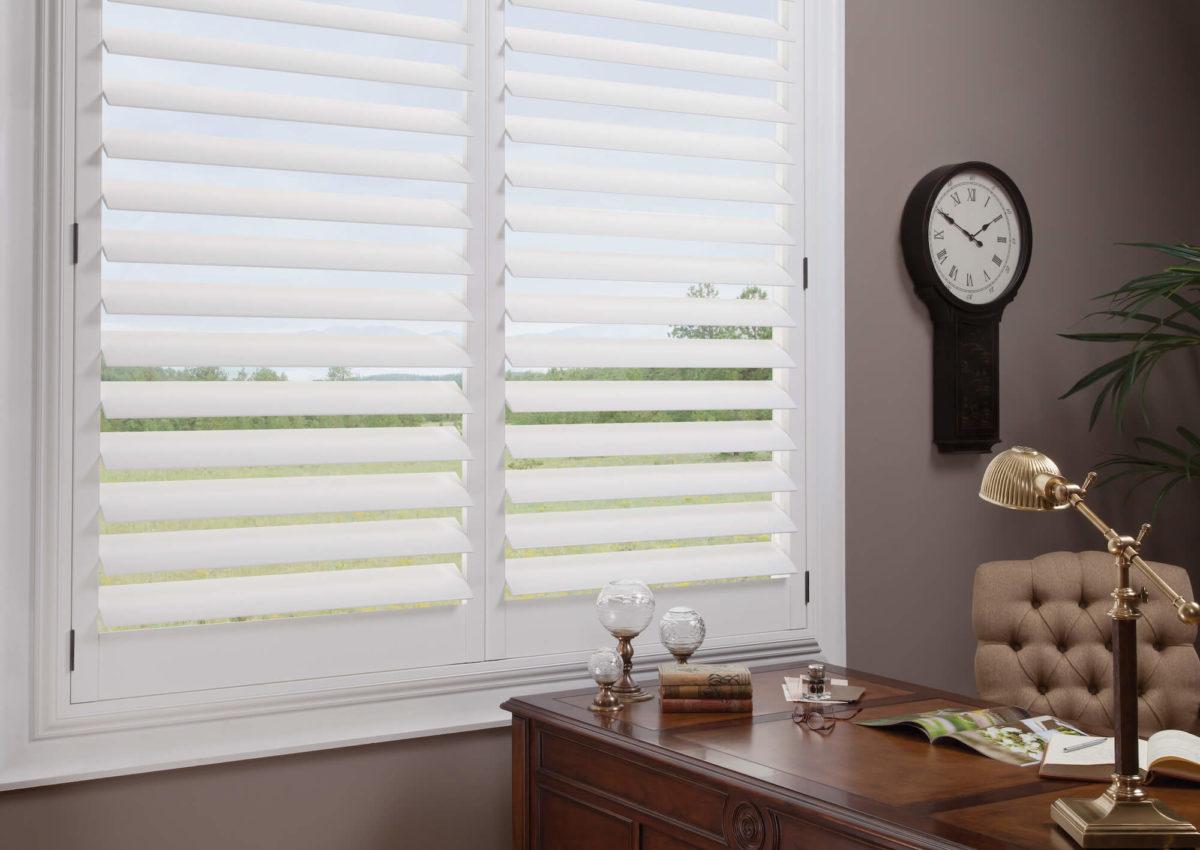 Hunter Douglas Newstyle Hybrid Shutters On Office Double Window