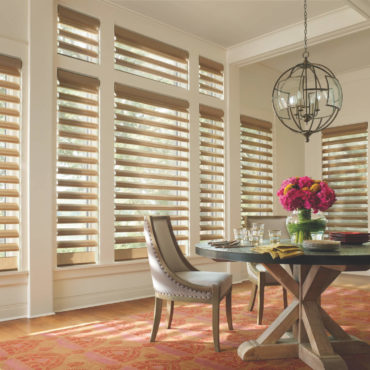 Dining Room Pirouette Window Shadings lowered and vanes open