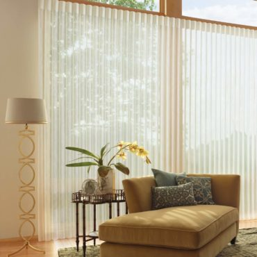 Luminette Privacy Sheers with vanes open in family room