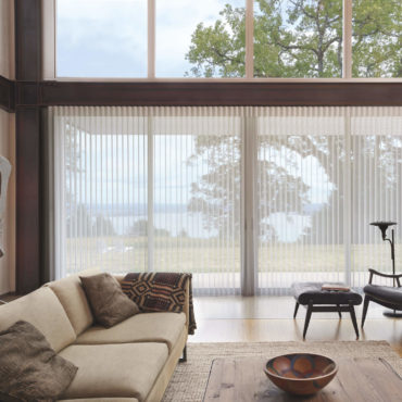 Luminette Privacy Sheers vanes tilted open to lake front view