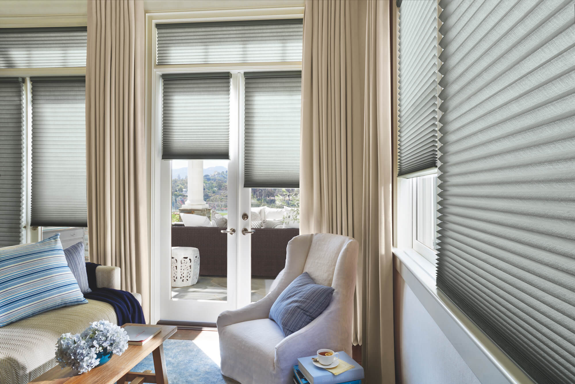 Duette Honeycomb Shades on living room windows and doors