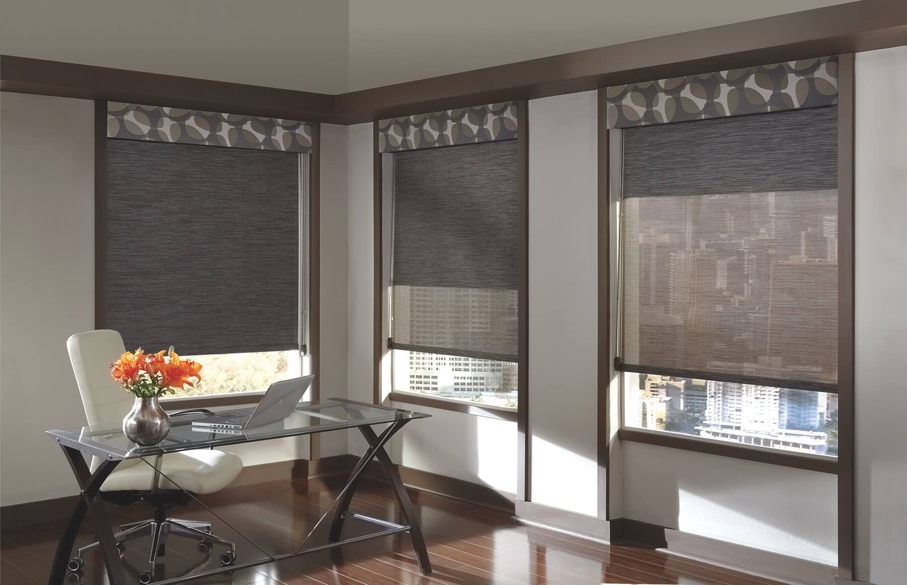 Designer Screen Shades with Duolite in home office