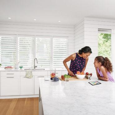 Pirouette Window Shadings in 4 kitchen windows behind sink