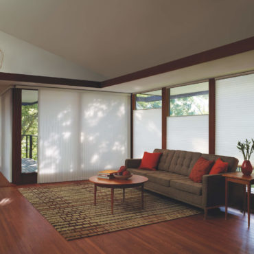 sunroom with Duette Vertiglide and Duette Honeycomb top-down/bottom-up shades