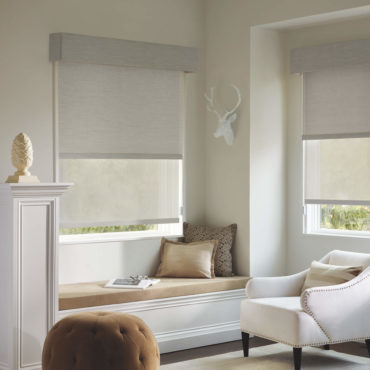 Designer Screen Shades in lounge area