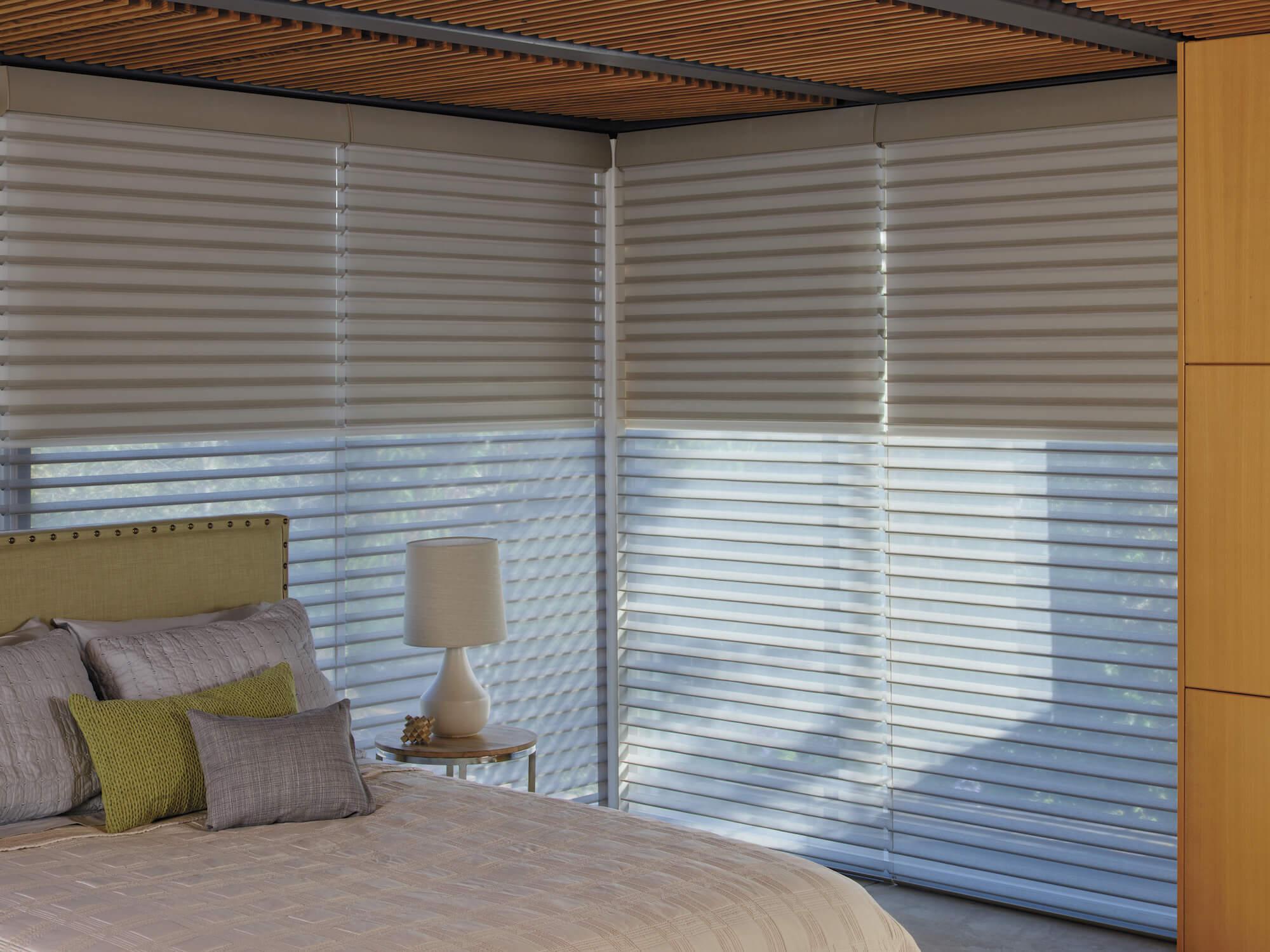 Hunter Douglas window sheers with duolite fabric in bedroom
