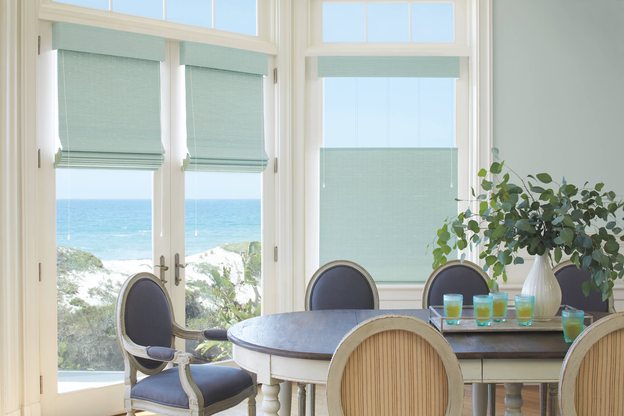 Provenance Woven Woods on shore house French Doors and dining room window