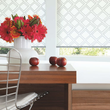 Hunter Douglas diamond patterned Designer Roller Shades in kitchen