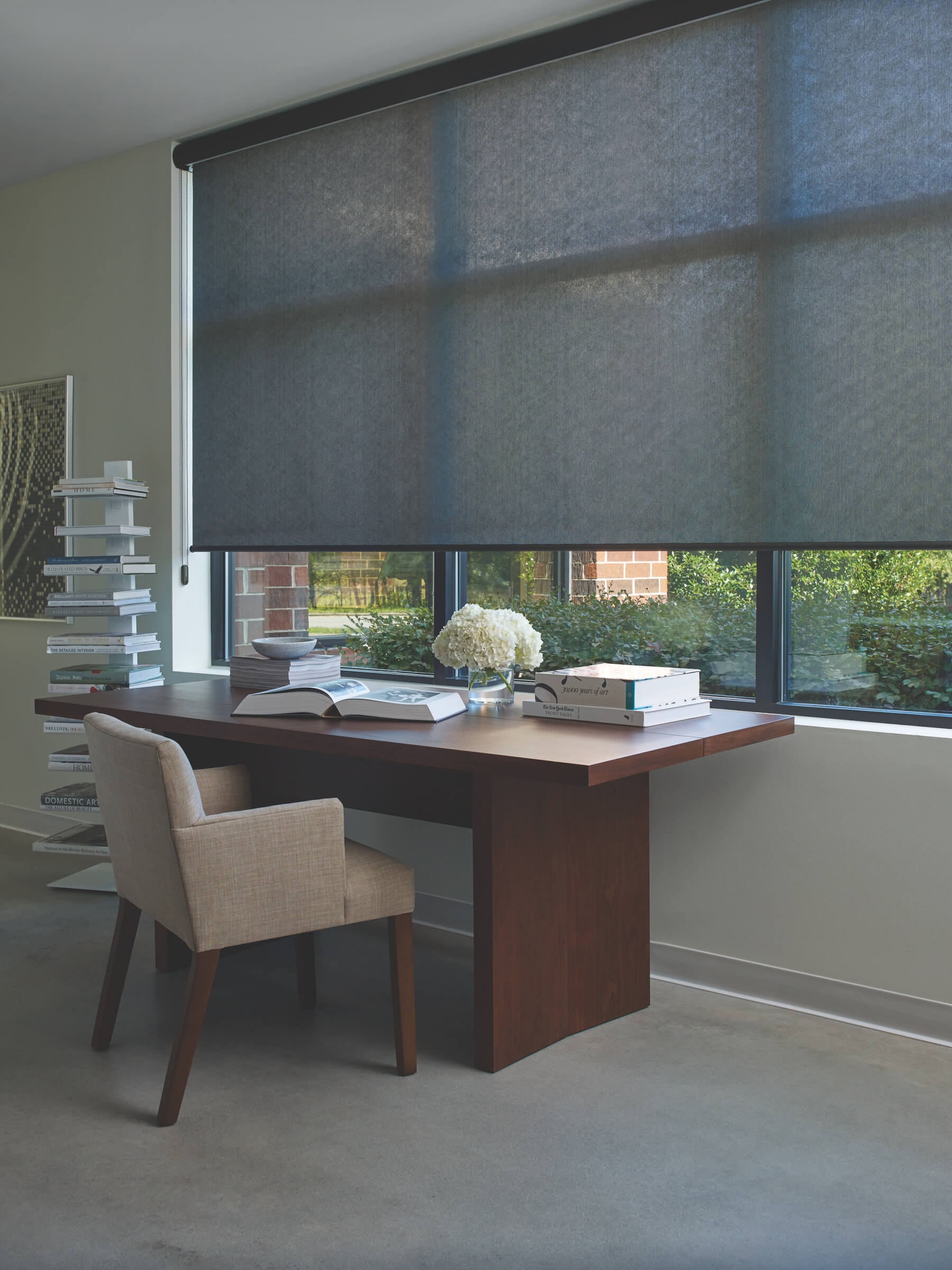 Designer Screen Shades lowered in office complex