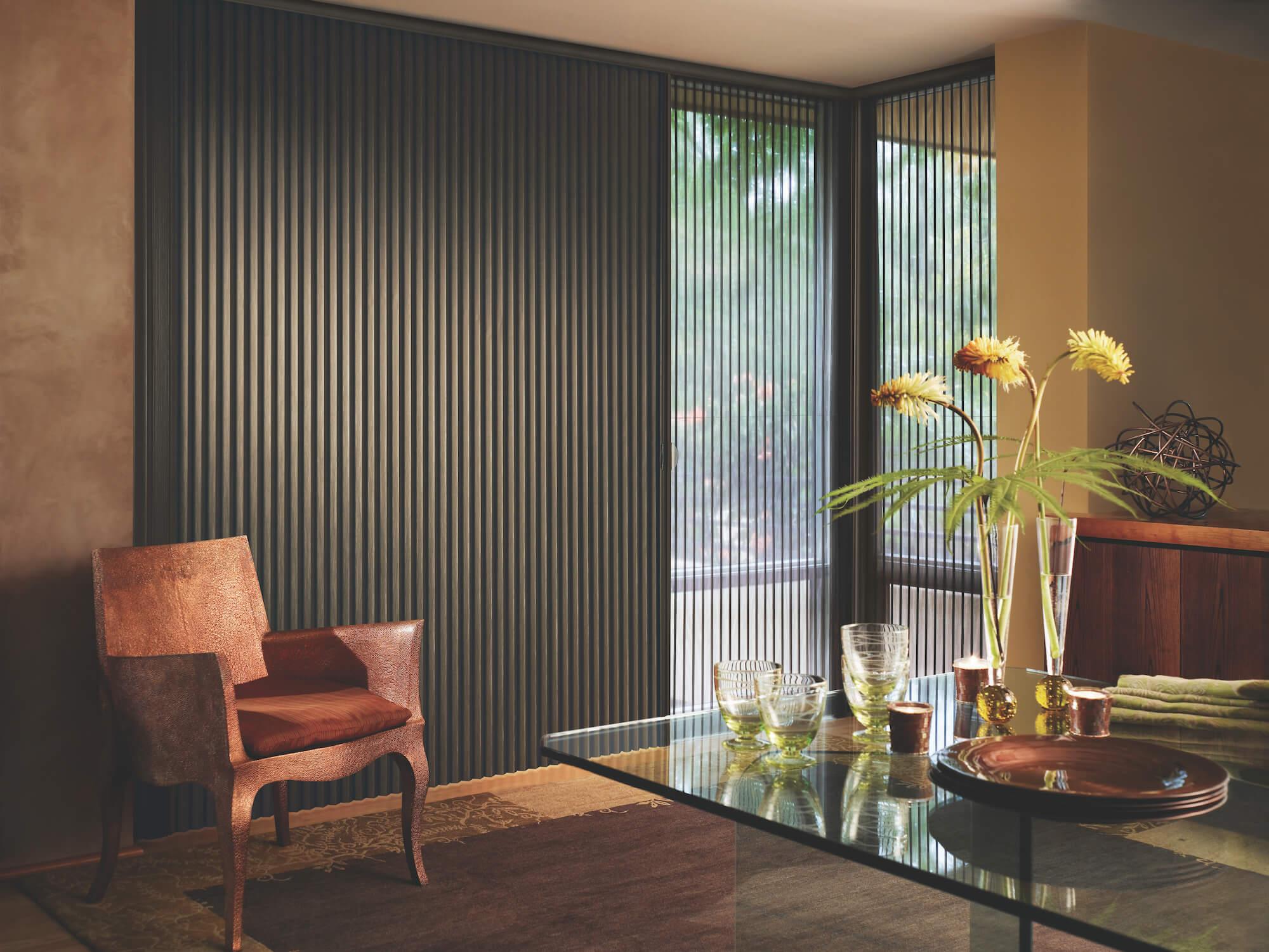 duette vertiglide shades on sliding glass door in dining room