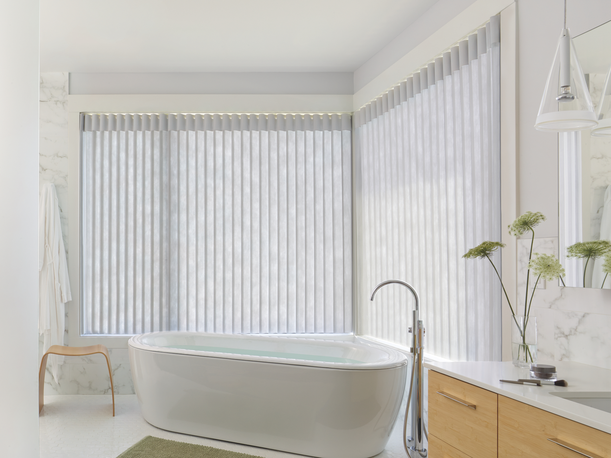 luminette privacy sheers on large windows in bathroom