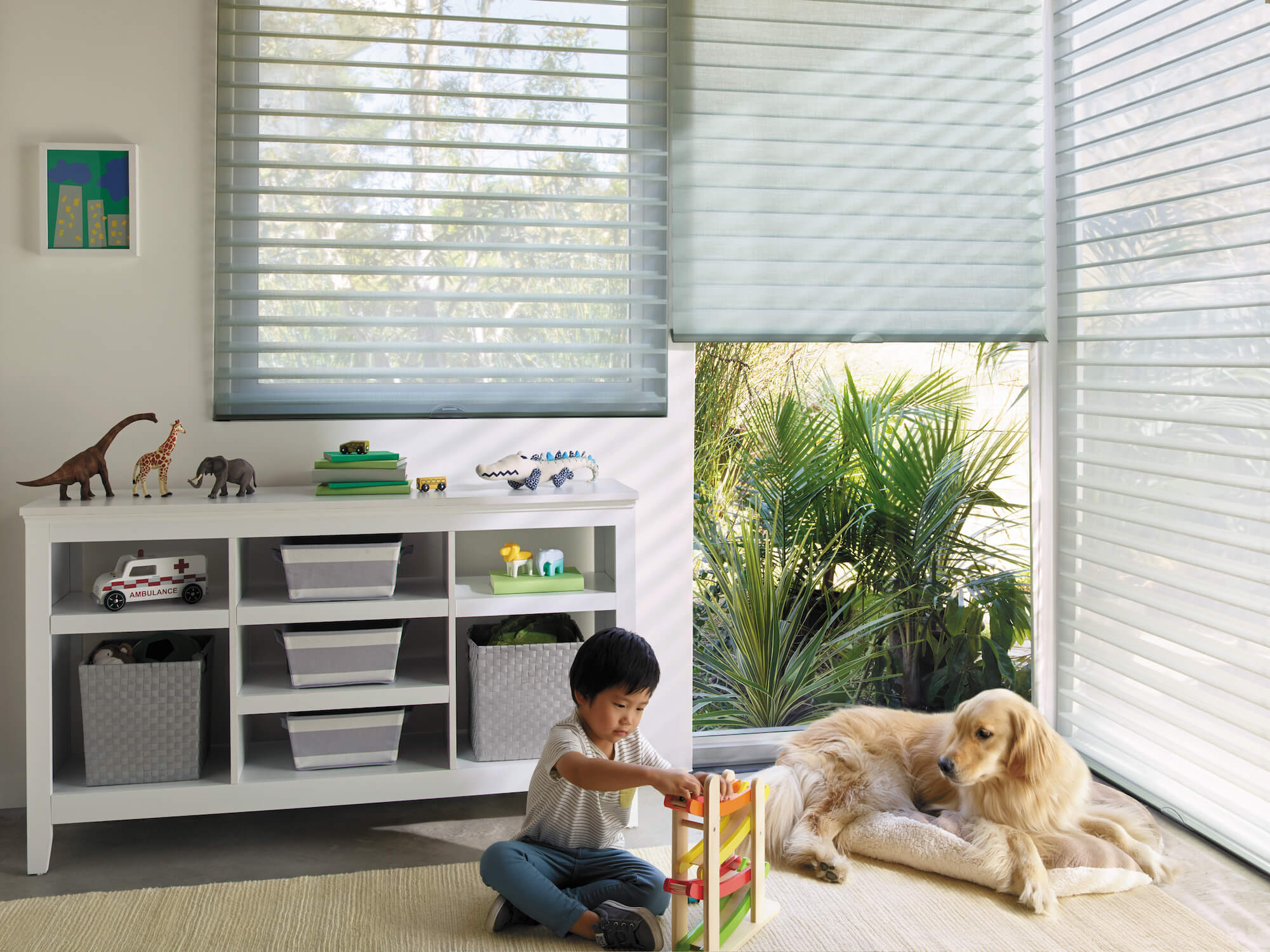 lowered Nantucket Window Shadings with vanes open in child's playroom