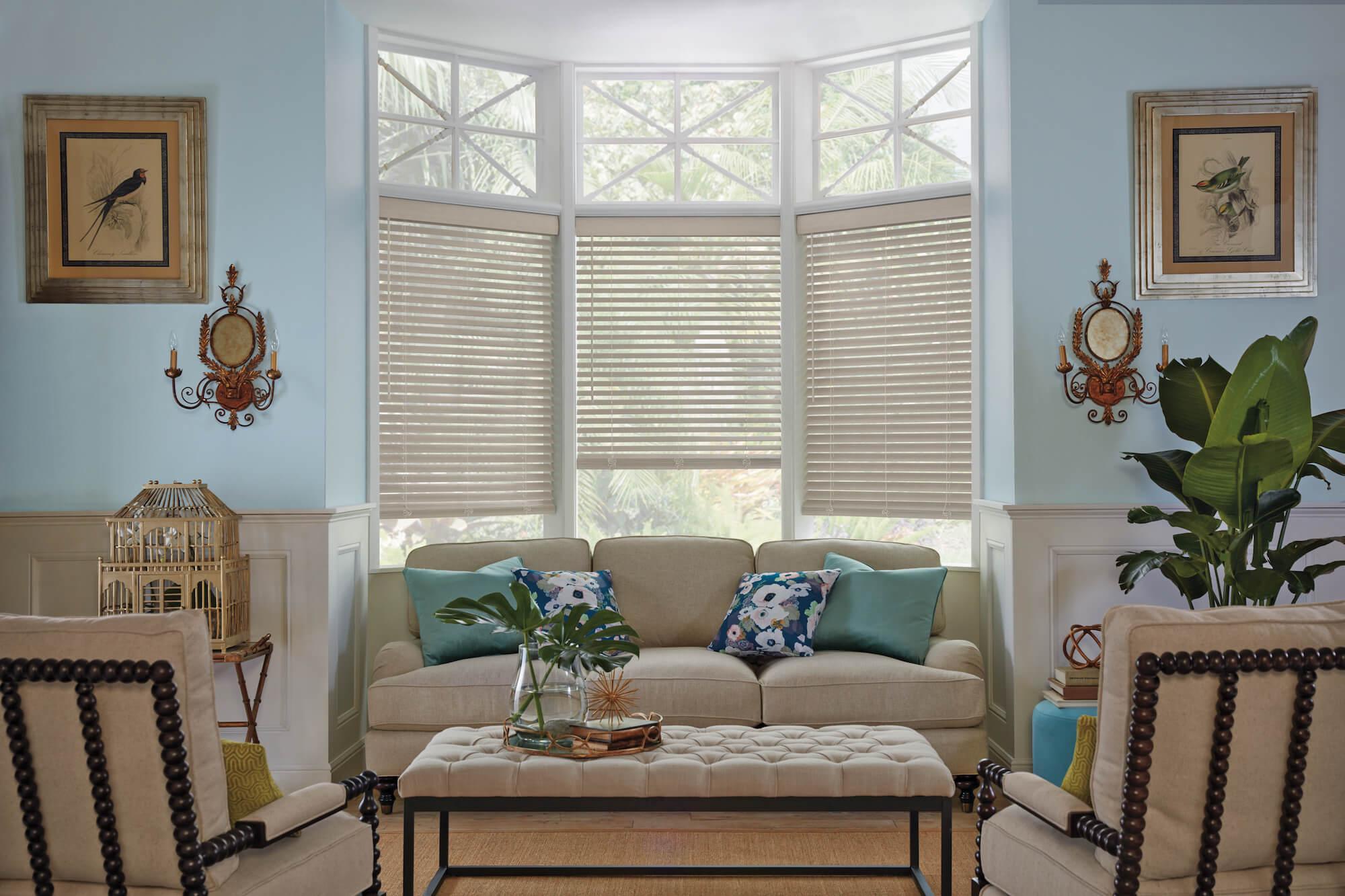 Hunter Douglas Parkland Wood Blinds on family room triple window