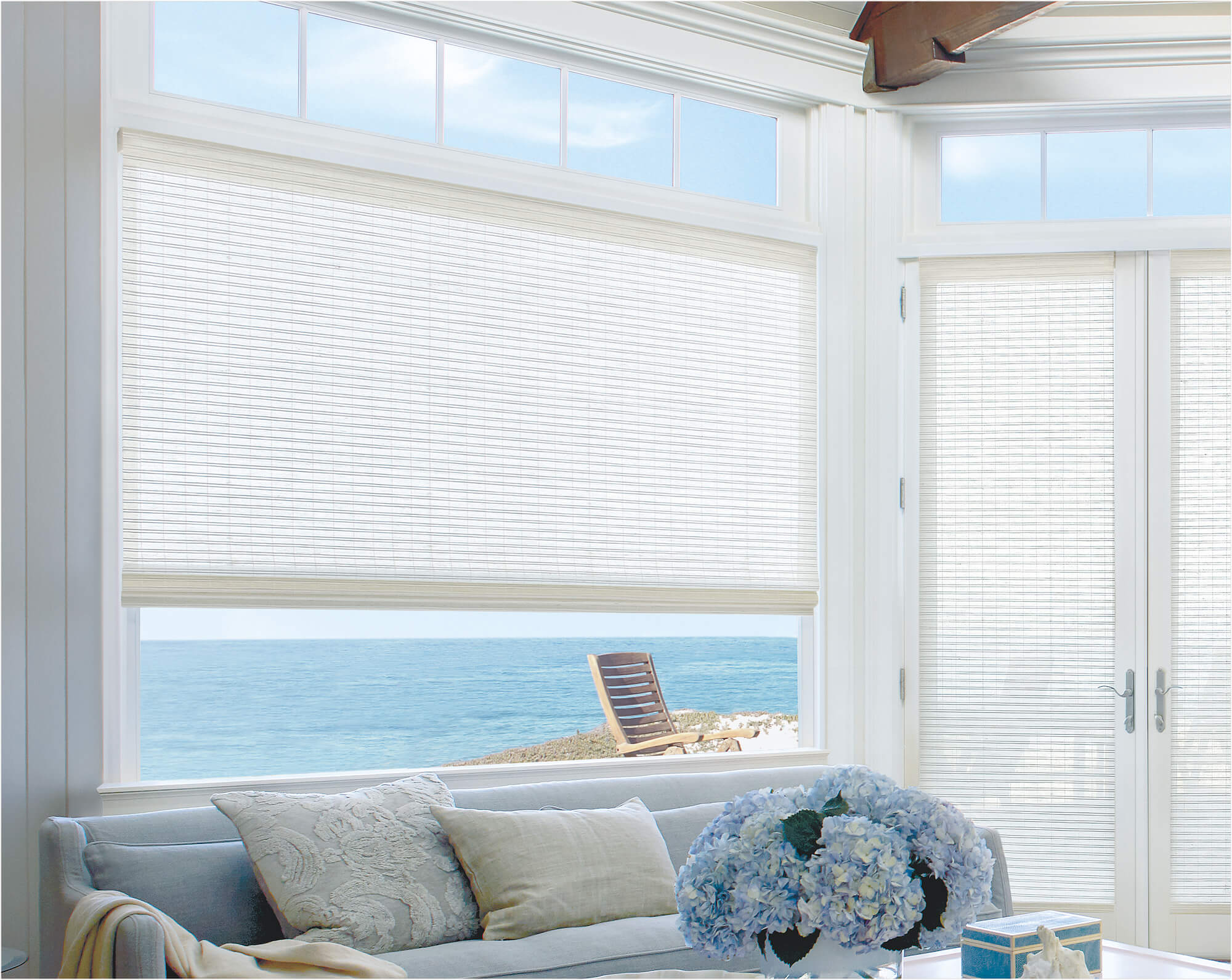 Provenance woven woods on large shore house window