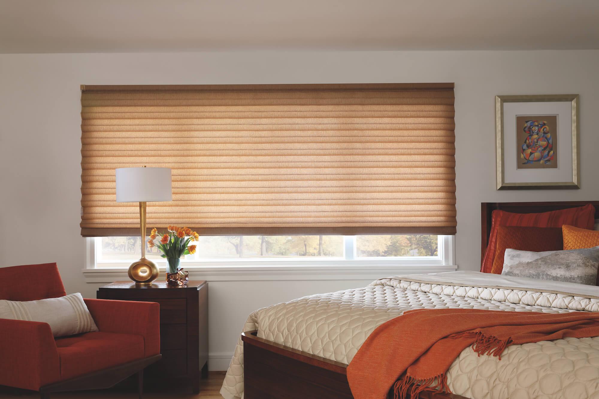 Solera Soft Shades in bedroom triple window
