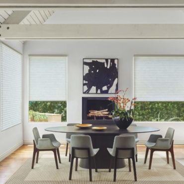 Sonnette Cellular Roller Shades in dining room