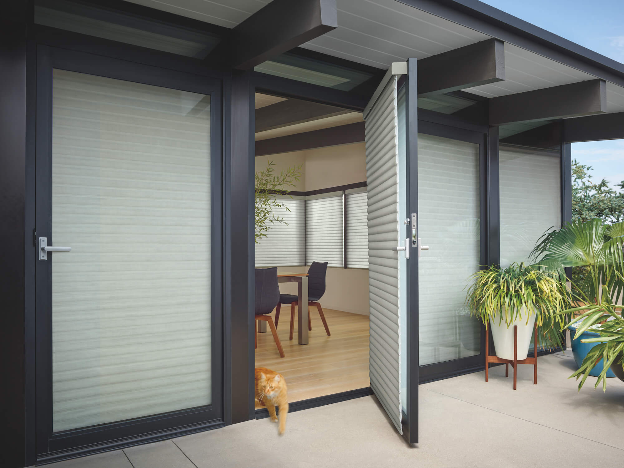 Sonnette Cellular Roller Shades on Patio Doors