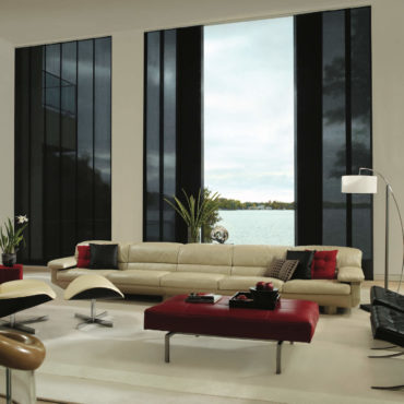 Living Room black Skyline Gliding Window Panels