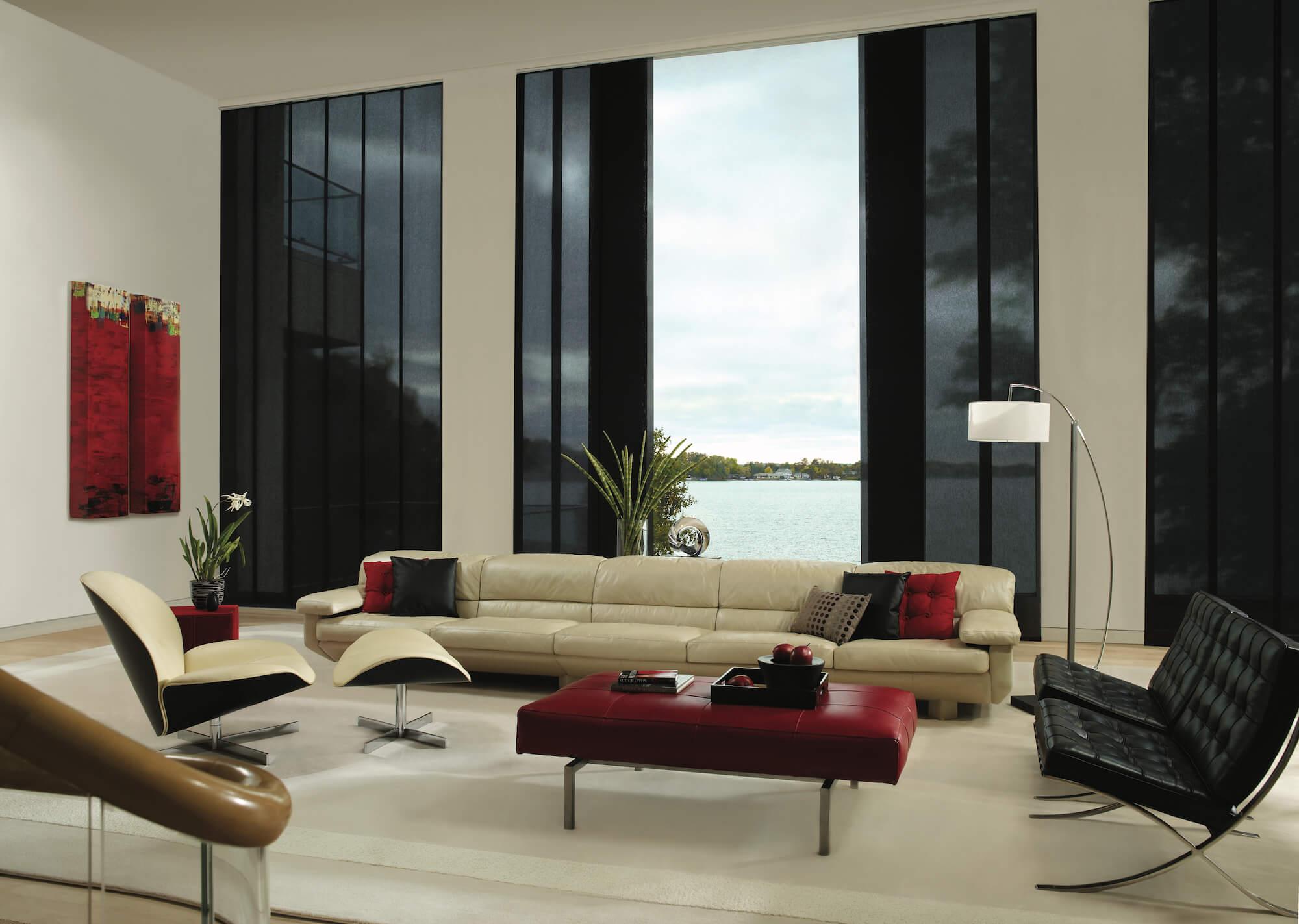 Living Room black Skyline Gliding Window Panels