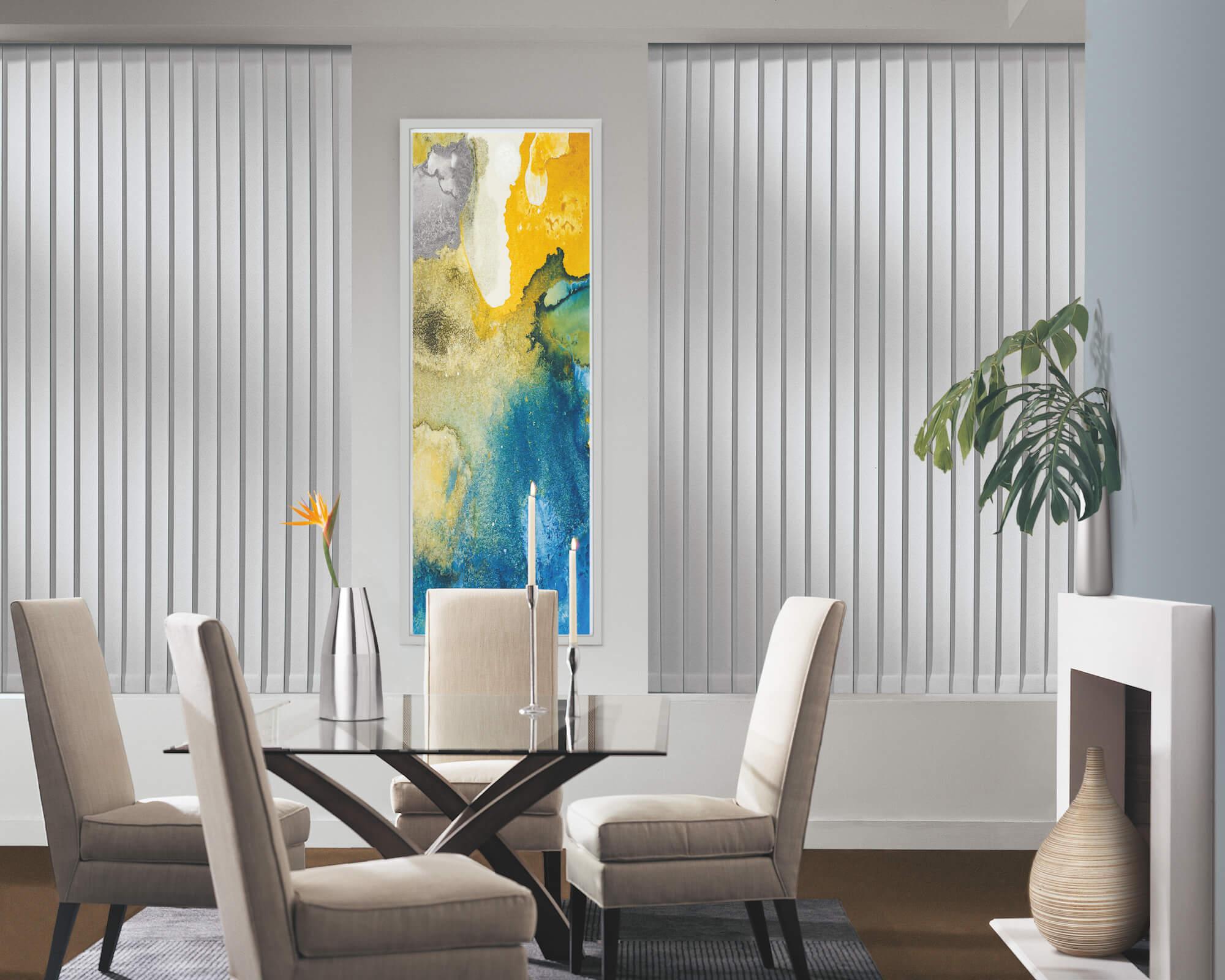 Somner Custom Vertical Blinds closed behind dining room table