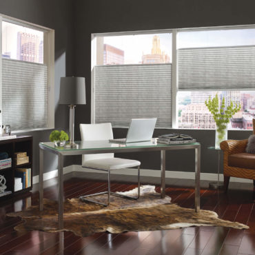 Top-Down/Bottom-Up Pleated Shades in home office