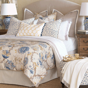 Eastern Accents blue and yellow floral print bedding