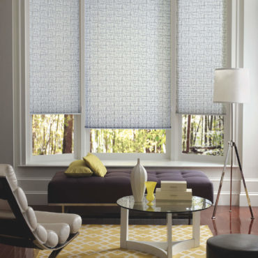 Pleated Shades on bay window partially open in family room