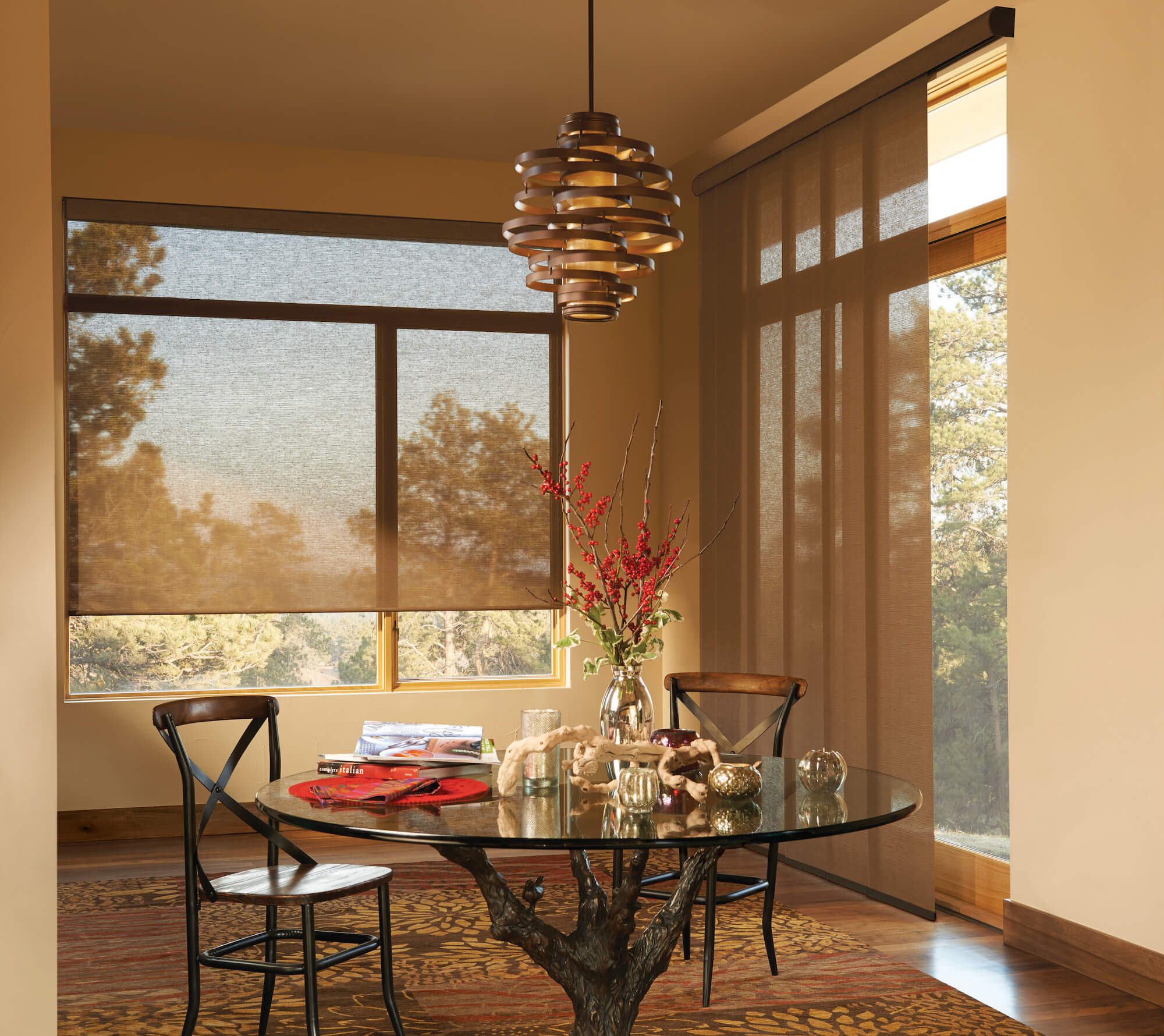 Dining Room Alustra Woven Textures and Skyline Panels looking out to woods