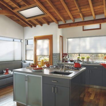 Applause Honeycomb shades in kitchen