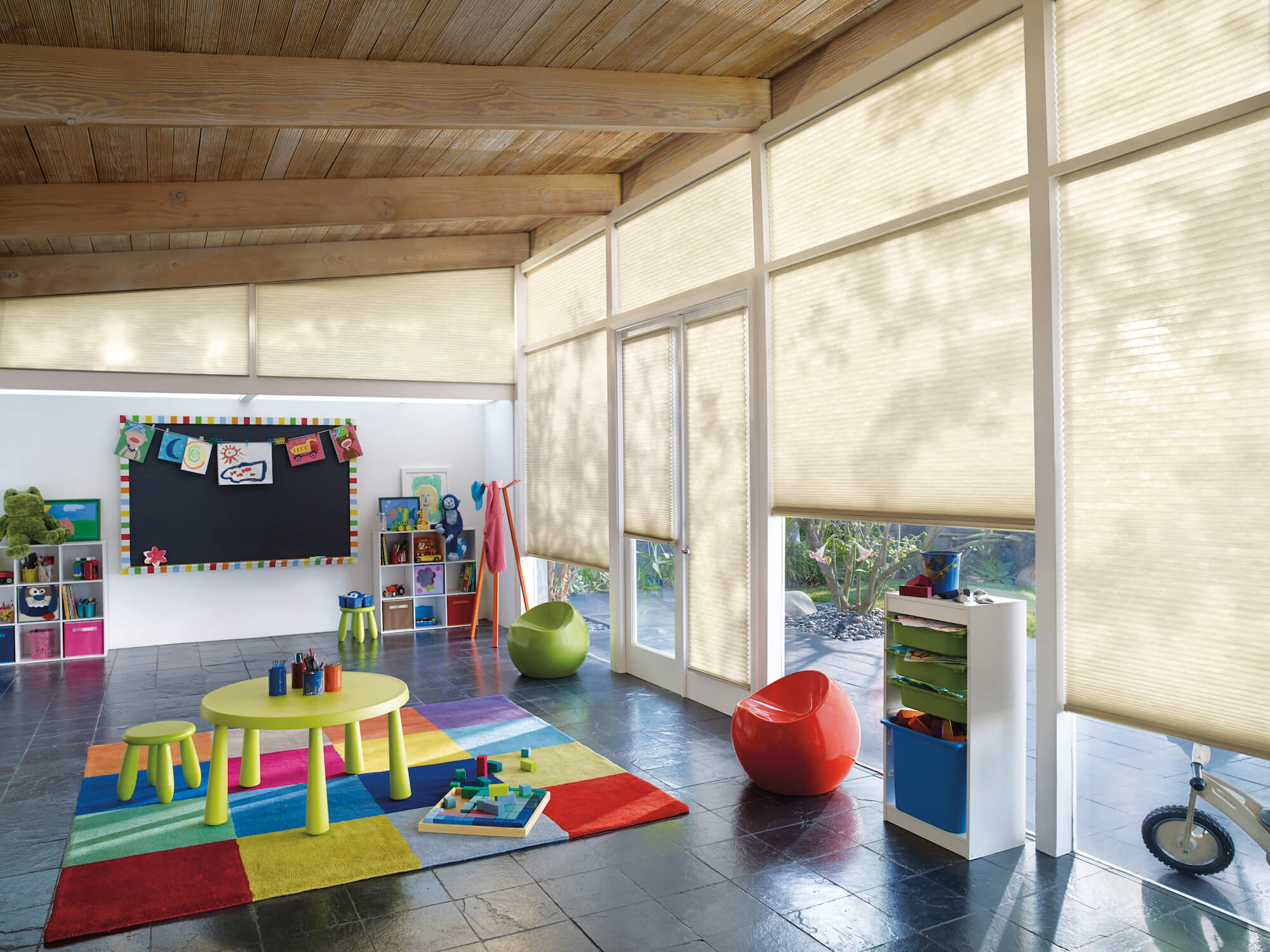 Hunter Douglas Applause Honeycomb shades in child's playroom