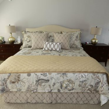Eastern Accents custom bedding in master bedroom