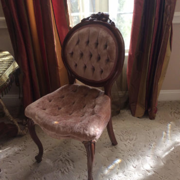 before photo of faded Victorian style chair