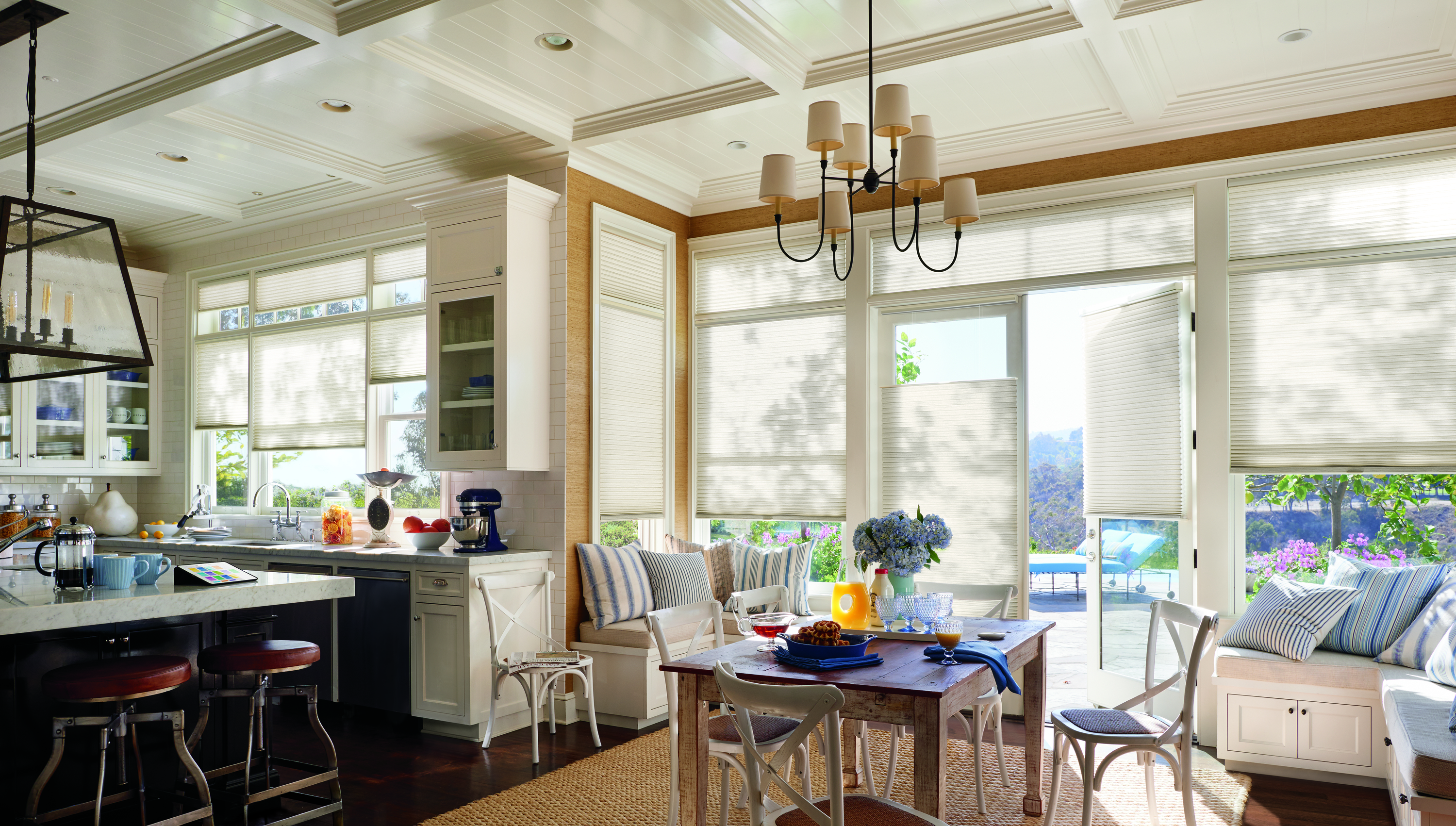 Hunter Douglas Duette Honeycomb shades in kitchen and dining room