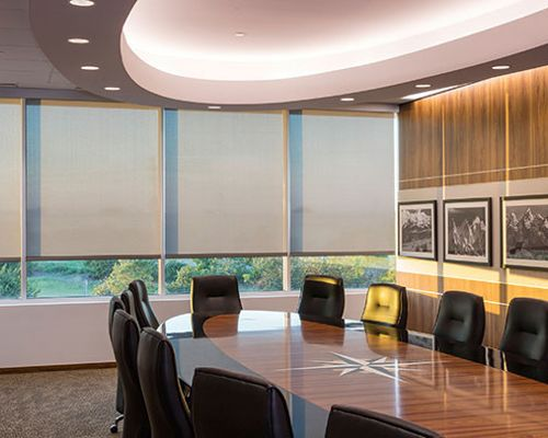 Conference room with Hunter Douglas Roller Shades