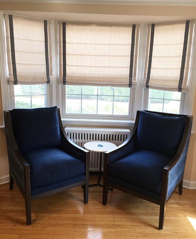two blue upholstered chairs