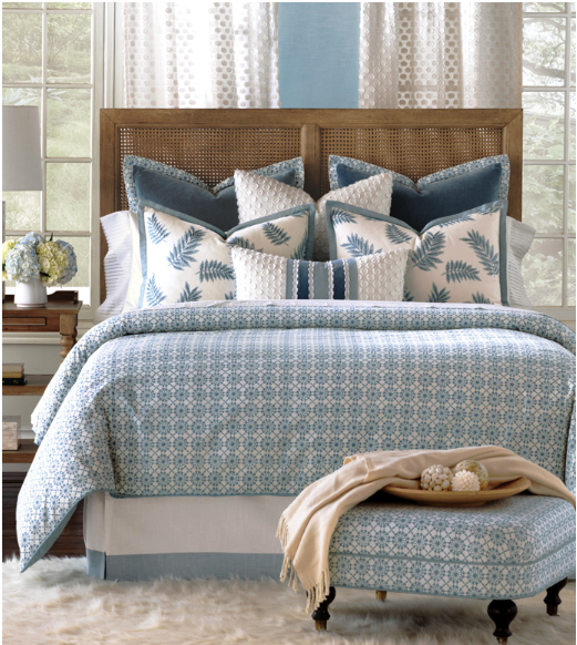 Eastern Accents light blue scale custom bedding set