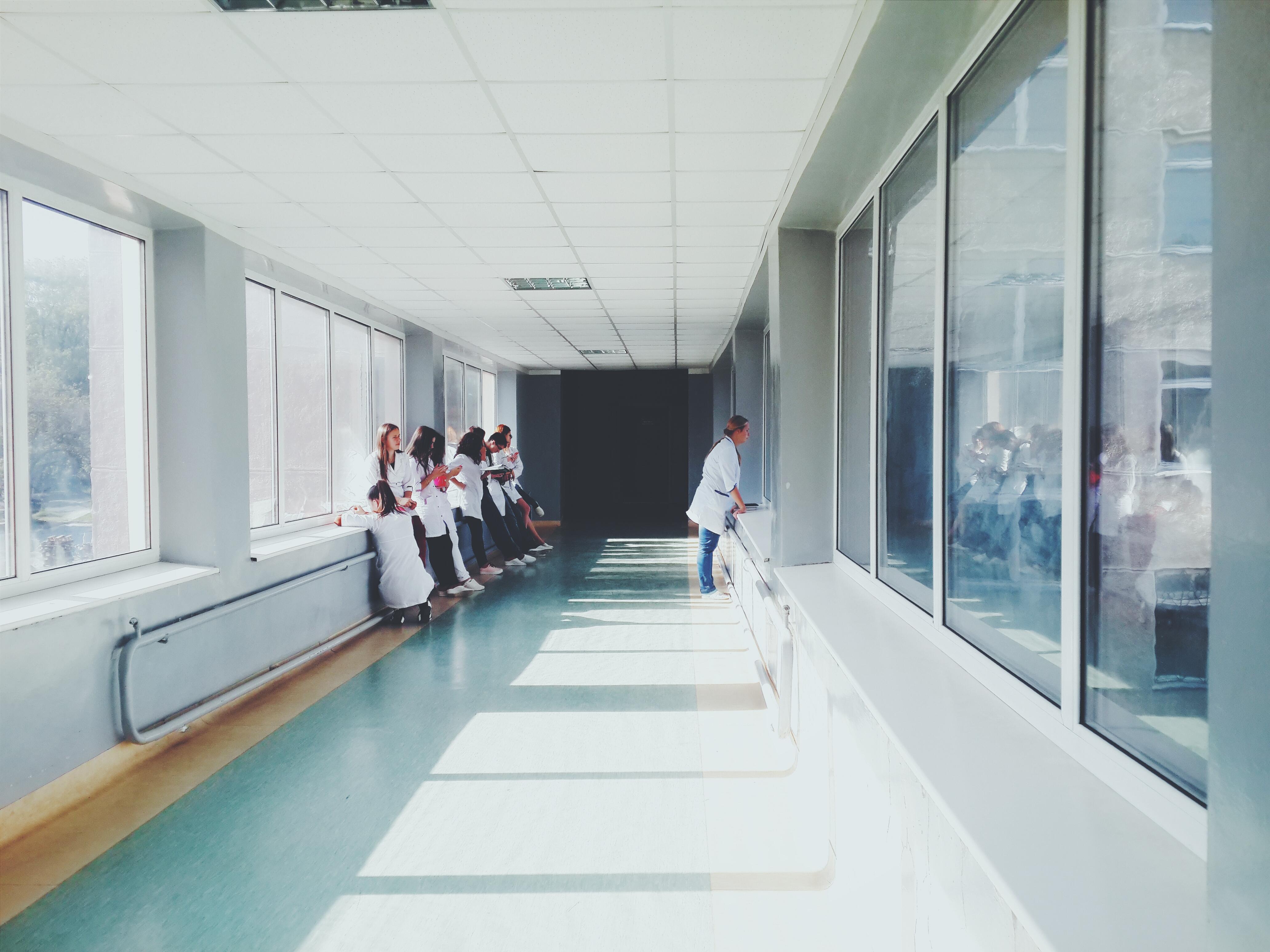 hospital hallway with glass windows