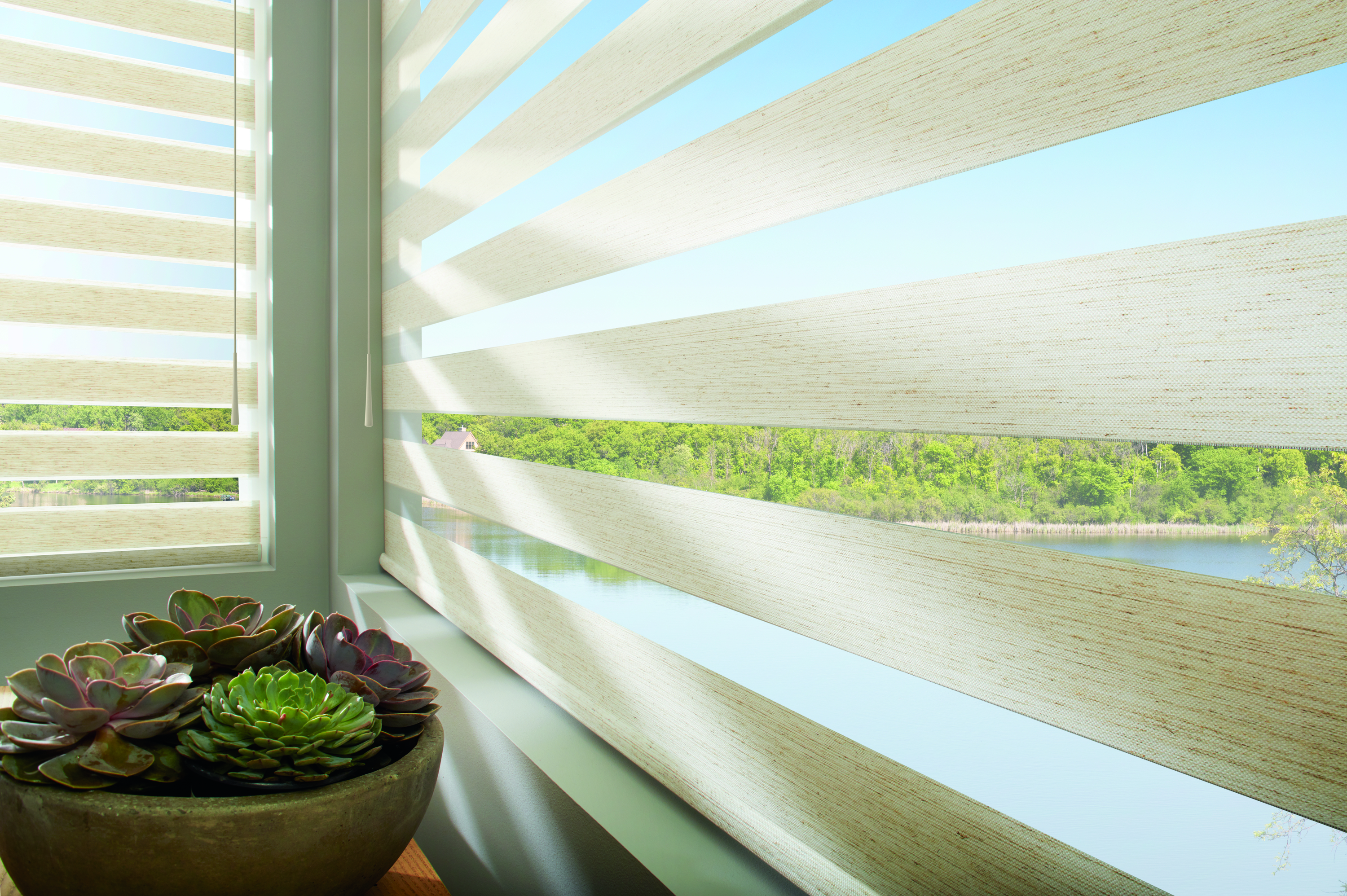Hunter Douglas Banded Shade with SoftTouch Motorization wand