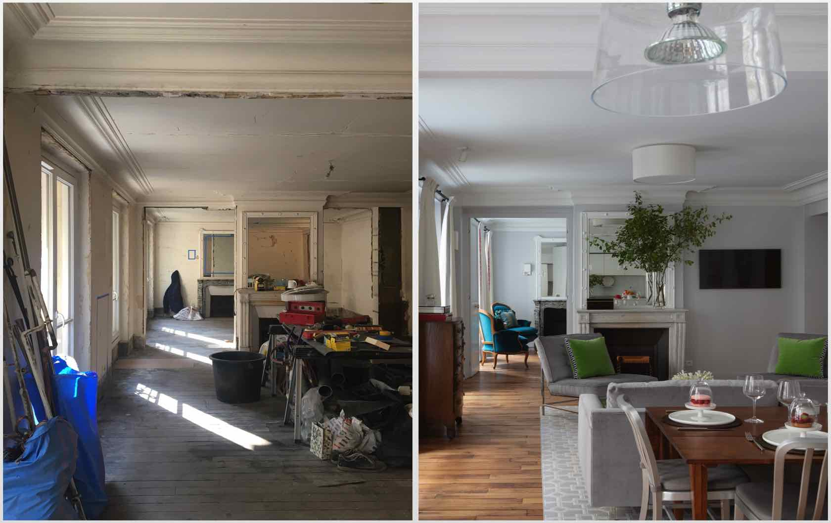 Before and after of a newly renovated dining and living room in an 1800s Paris apartment