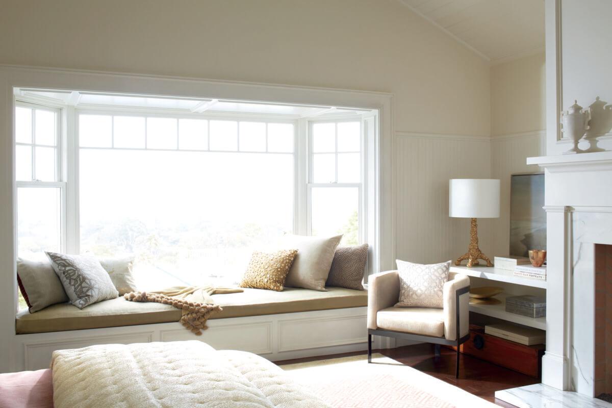 Bright sun shining through bedroom windows
