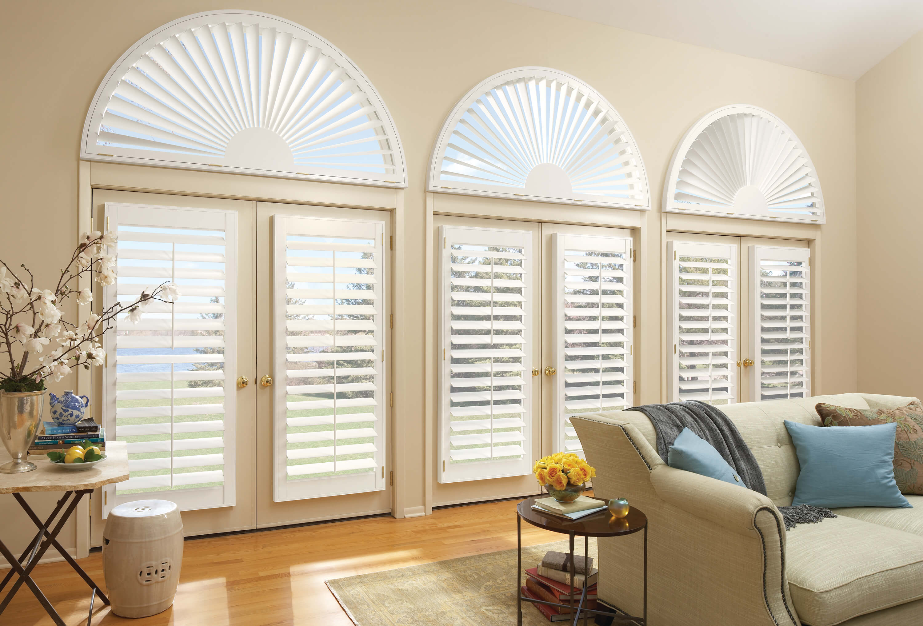 Hunter Douglas plantation shutters for specialty shaped arch windows