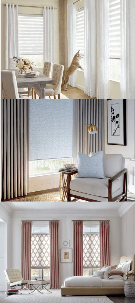 Design Studio side panels, roller shades, and roman shades
